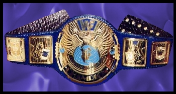 WWF Winged Eagle Original Blue Strap Block Logo Title Belt