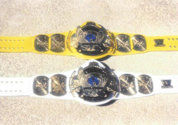 WWF Winged Eagle Yellow And White Strap Title Belts