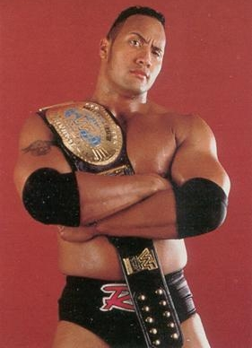 The Rock With The WWF 1998 J-Mar Black Strap Intercontinental Title Belt