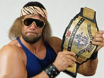 Macho Man Randy Savage With The WWF Reggie IC Intercontinental Title Belt