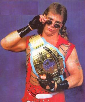 Shawn Michaels With The WWF Reggie IC Blue Strap Intercontinental Title Belt