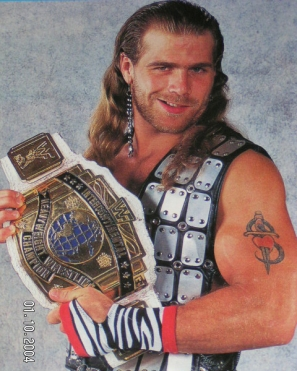 Shawn Michaels With The WWF Reggie IC White Strap Intercontinental Title Belt