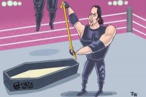 WrestleMania 15 Bossman Hanged By Undertaker Cartoon Illustration