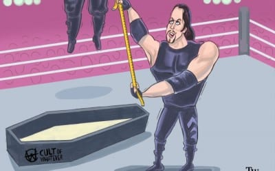 WrestleMania 15 Bossman Hanged By Undertaker Cartoon Illustration