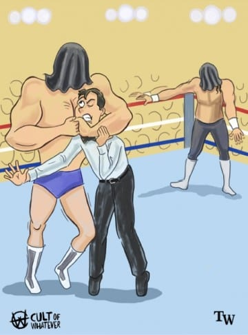 WrestleMania 7 Blindfold Match Rick Martel Jake Roberts Cartoon Illustration