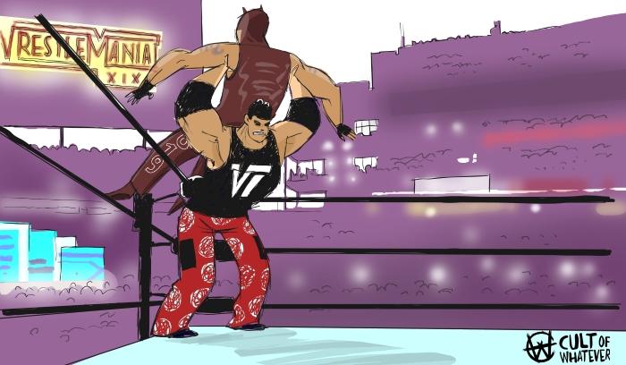 WrestleMania 19 Matt Hardy Rey Mysterio Cartoon Illustration