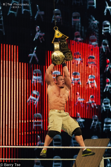 Wwe Tlc Wwe World Title Belts John Cena Hanging