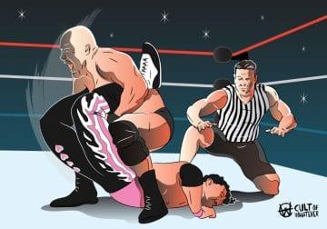 Wrestlemania 13 Steve Austin Bret Hart Ken Shamrock 2
