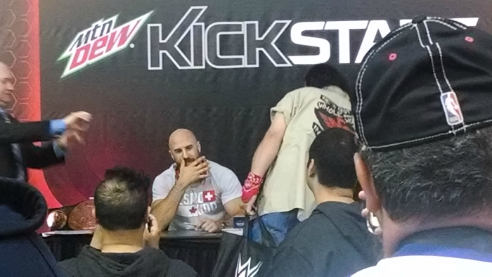 I was so close to Cesaro I could almost see my reflection in his imaginary brass ring
