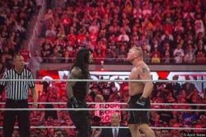 Wrestlemania 31 Roman Reigns Brock Lesnar Paul Heyman Staredown