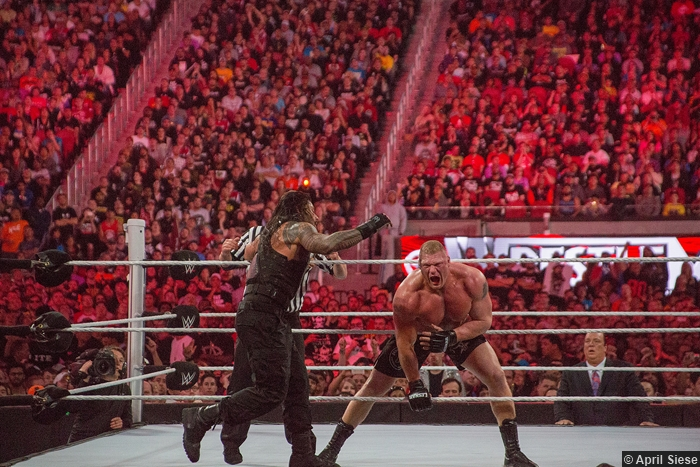 Wrestlemania 31 Roman Reigns Ropes Brock Lesnar