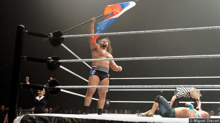 Russian Flag Rusev John Cena 17042015