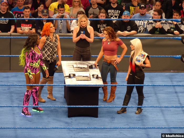 070217 Naomi Becky Lynch Mickie James Alexa Bliss Signing Contract