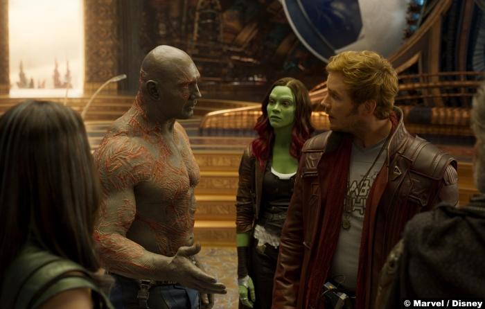 Guardians Galaxy Vol2 Dave Bautista Drax Zoe Saldana Gamora Chris Pratt Peter Quill Star Lord