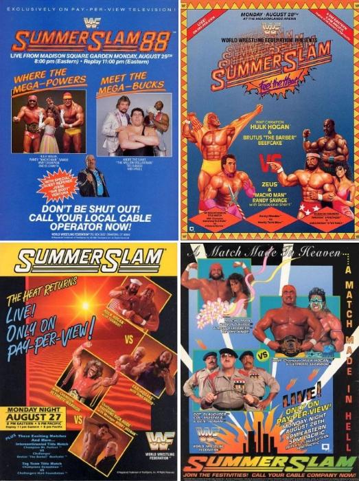 Summerslam 1988 1989 1990 1991 Poster
