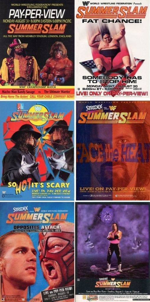 Summerslam 1992 1993 1994 1995 1996 1997 Posters