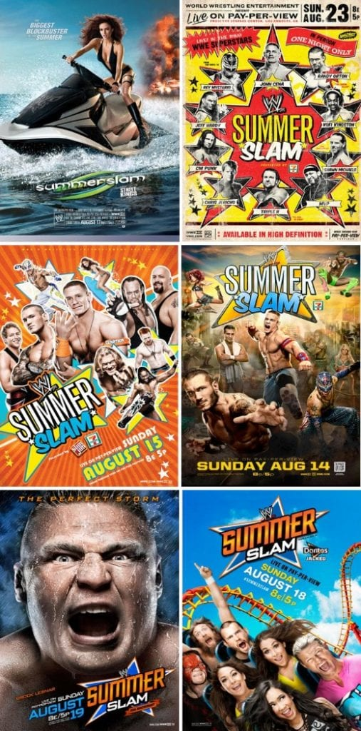 Summerslam 2008 2009 2010 2011 2012 2013 Posters