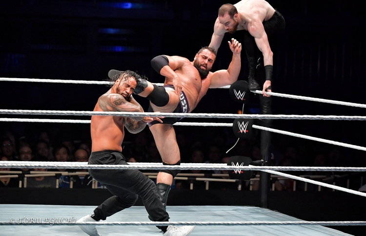 300618 Jimmy Jey Uso Rusev Aiden English