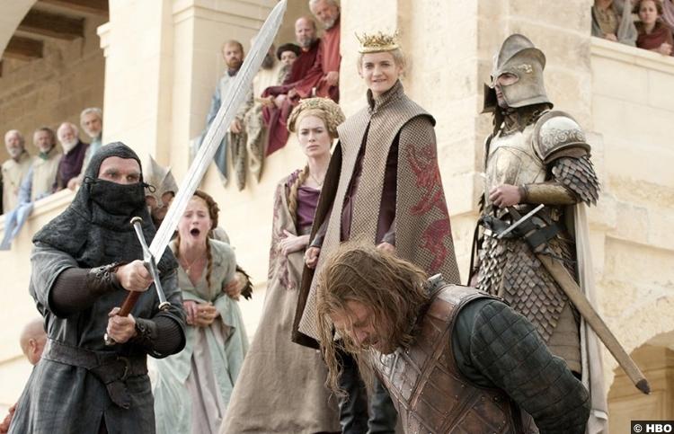 Game Thrones S01e09 Sean Bean Ned Stark Jack Gleeson Joffrey Baratheon Lena Leadey Cersei Lannister Sophie Turner Sansa