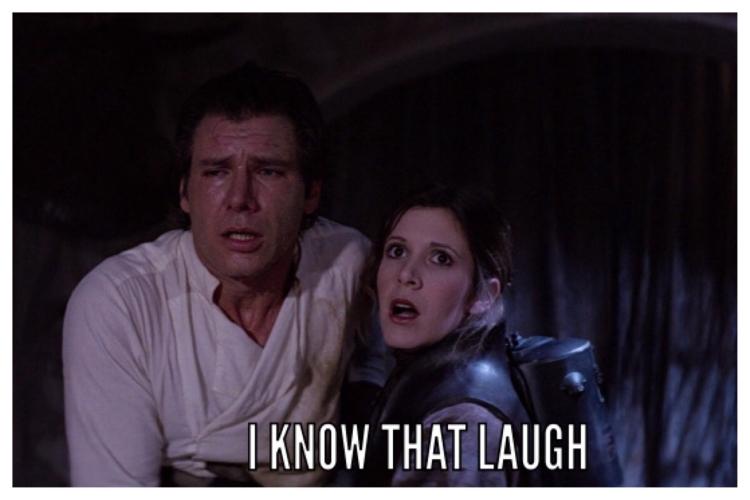 Star Wars Mem Carrie Fisher Princess Leia Harrison Ford Han Solo Laugh