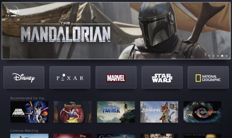 Disney Plus Main Screen