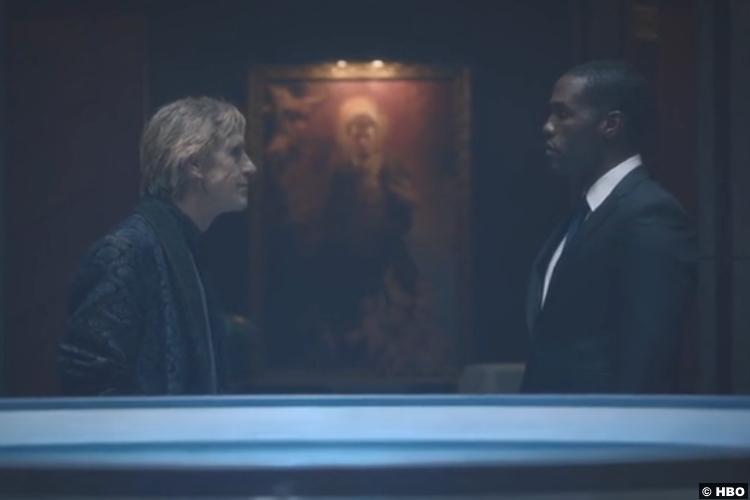 Watchmen S01e08 Jeremy Irons Adrian Veidt Ozymandias Yahya Abdul Mateen Cal Abar Doctor Manhattan