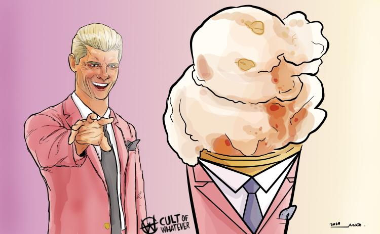 Cody Rhodes Butter Pecan Ice Cream Cartoon Illustration