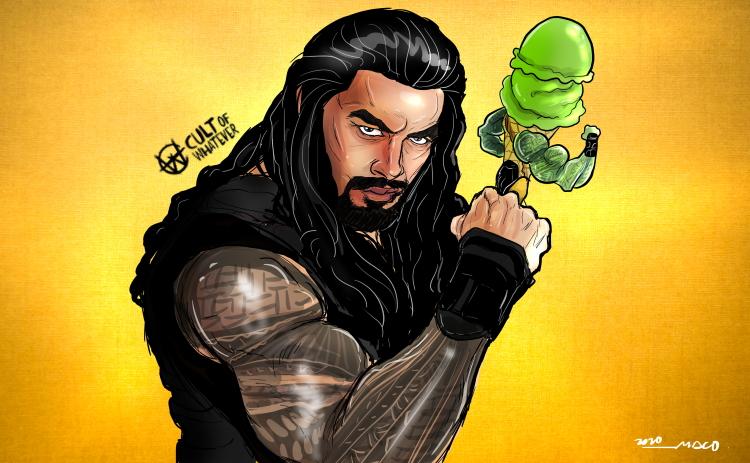 Roman Reigns Green Tea Ice Cream Cartoon Illustration