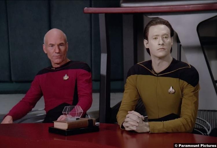 Star Trek Tng S02e09 Brent Spiner Patrick Stewart Captain Jean Luc Picard Data