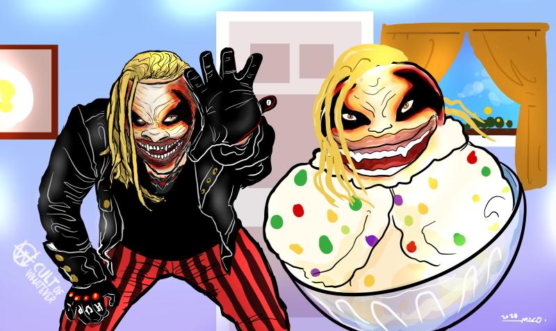 The Fiend Bray Wyatt Tutti Frutti Ice Cream Cartoon Illustration