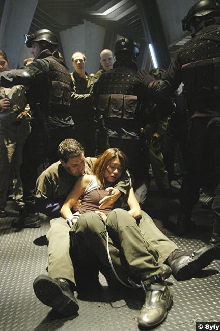 Battlestar Galactica S02e04 Grace Park Aaron Douglas Sharon Boomer Valerii Chief Galen Tyrol