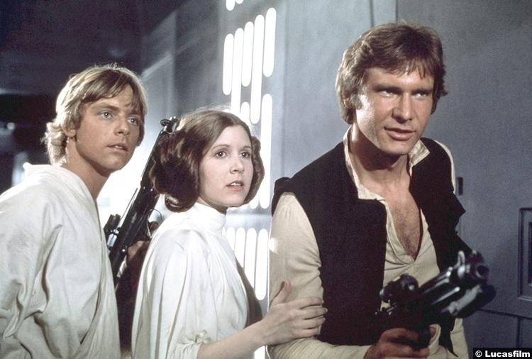 Star Wars New Hope Mark Hamill Carrie Fisher Harrison Ford Luke Skywalker Princess Leia Han Solo