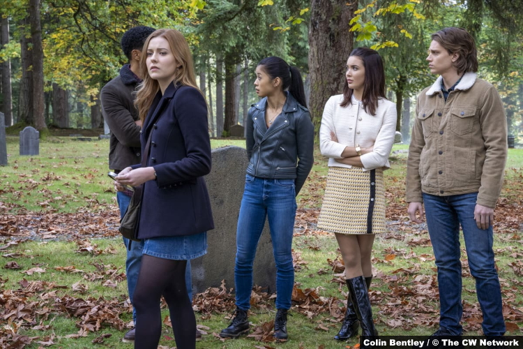 Nancy Drew S02e02 Tunji Kasim Kennedy McMann Leah Lewis Maddison Jaizani Alex Saxon as Nick Nancy George Bess Ace