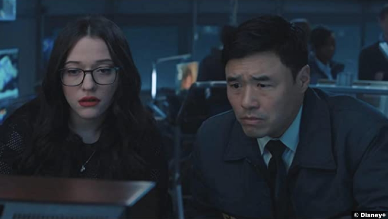 Wandavision S01e04 Kat Dennings and Randall Park as Darcy Lewis and Jimmy Woo