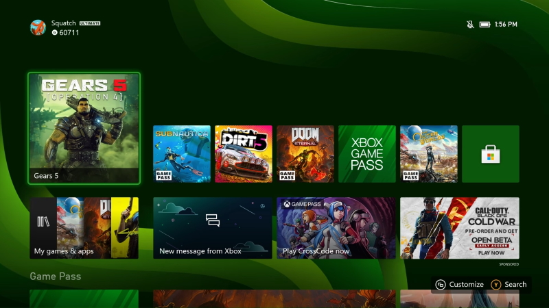 Xbox Series S Console Interface
