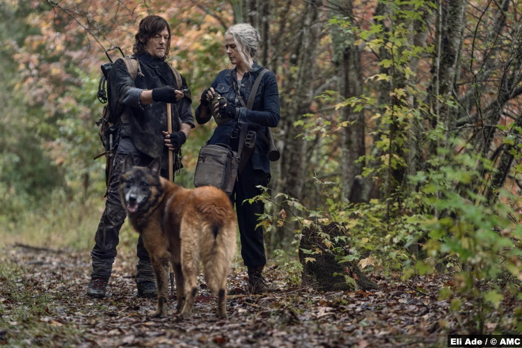 The Walking Dead S10e18 Norman Reedus and Melissa McBride as Daryl and Carol with Dog