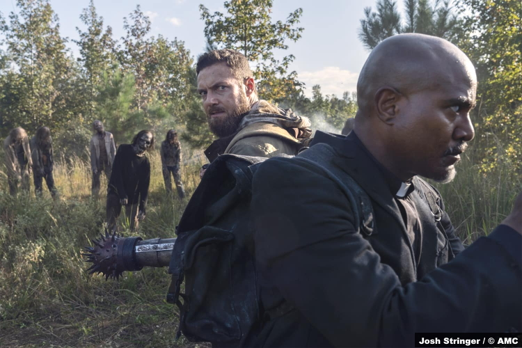 The Walking Dead S10e19 Ross Marquand and Seth Gilliam as Aaron and Gabriel