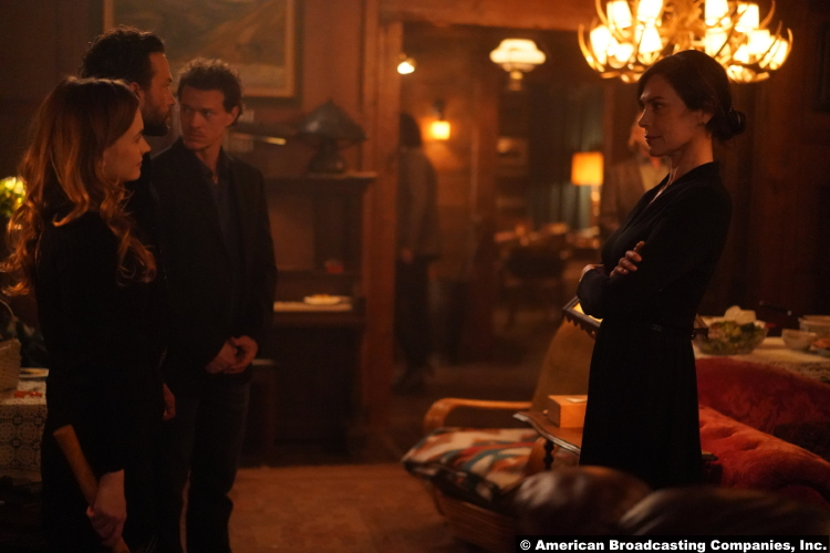 Big Sky S01e14: Britt Robertson Kyle Schmid Ryan Dorsey and Michelle Forbes as Cheyenne John Wayne Rand and Margaret Kleinsasser