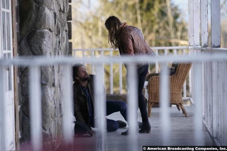 Big Sky S01e13 Kyle Schmid and Britt Robertson as John Wayne and Cheyenne Kleinsasser