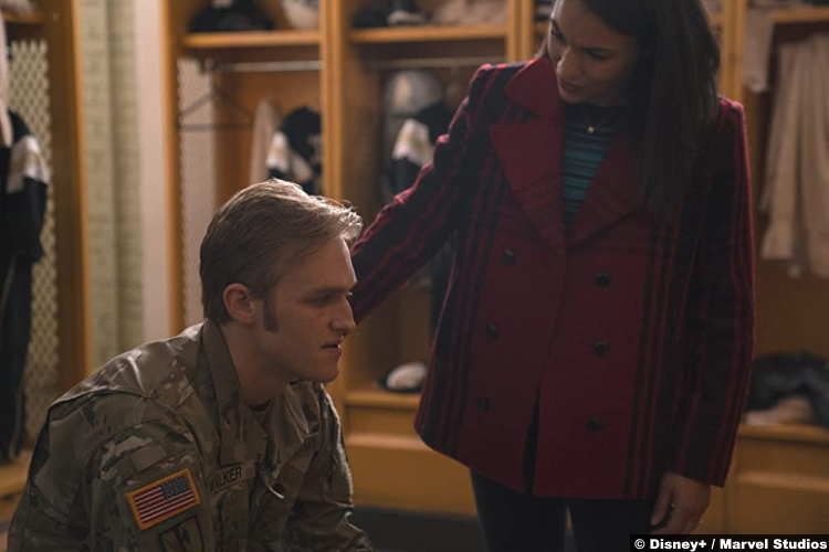 The Falcon and the Winter Soldier S01e02 Wyatt Russell and Gabrielle Byndloss as John and Olivia Walker