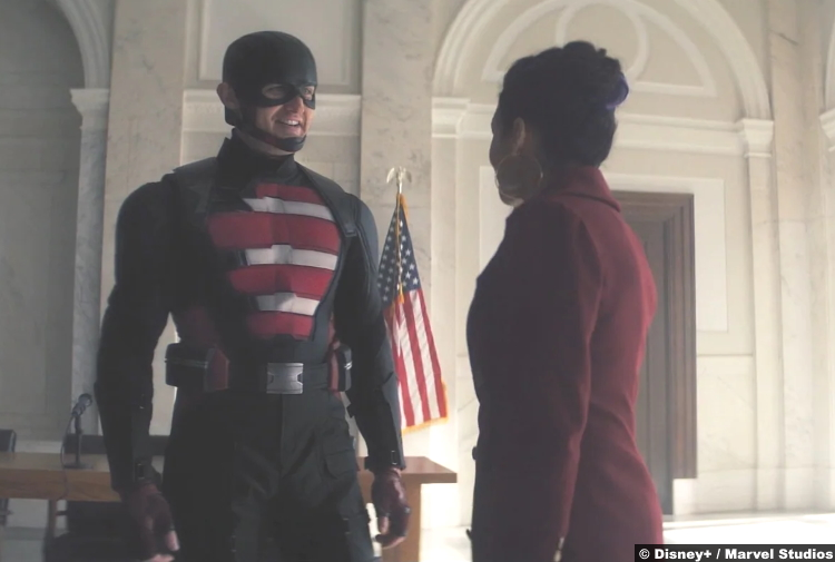 The Falcon and the Winter Soldier S01e06 Wyatt Russell and Julia Louis Dreyfus as U.S. Agent and Valentina Allegra de Fontaine