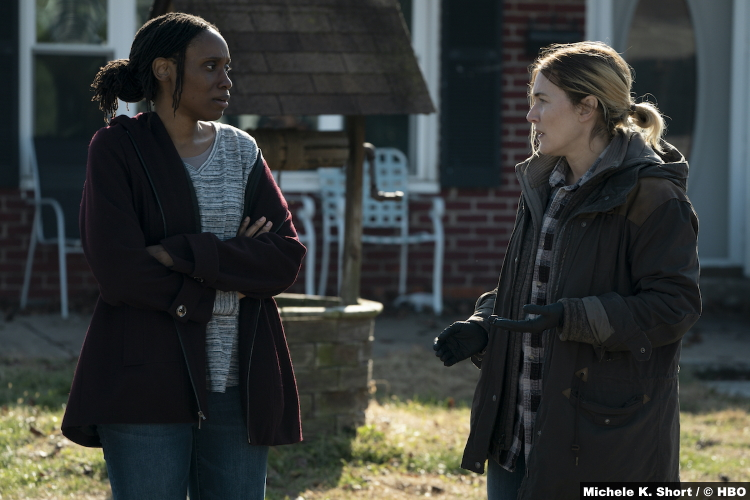 S01E01 Chinasa Ogbuagu and Kate Winslet as Beth Hanlon and Mare Sheehan