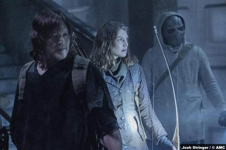 The Walking Dead S11e01: Lauren Cohan, Norman Reedus and Okea Eme-Akwari as Maggie, Daryl and Elijah