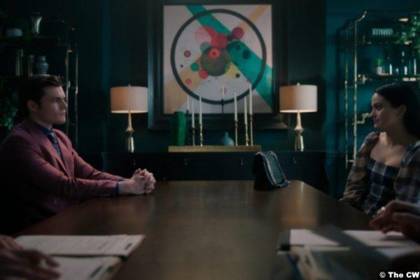 Riverdale S05e17: Chris Mason and Camila Mendes as Chad Gekko and Veronica Lodge