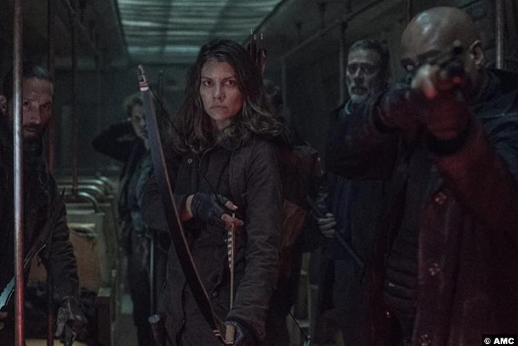 The Walking Dead S11e02: James Devoti, Laurie Fortier, Lauren Cohan, Jeffrey Dean Morgan and Seth Gilliam as Cole, Agatha, Maggie, Negan and Gabriel