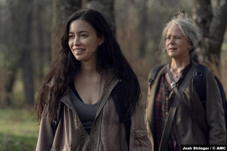 The Walking Dead S11e03: Christian Serratos and Melissa McBride as Rosita and Carol
