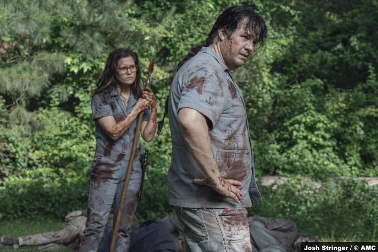 The Walking Dead S11e07: Chelle Ramos and Josh McDermitt as Stephanie and Eugene