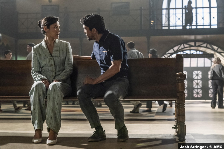 The Walking Dead S11e07 Eleanor Matsuura and Ian Anthony Dale as Yumiko and Tomi